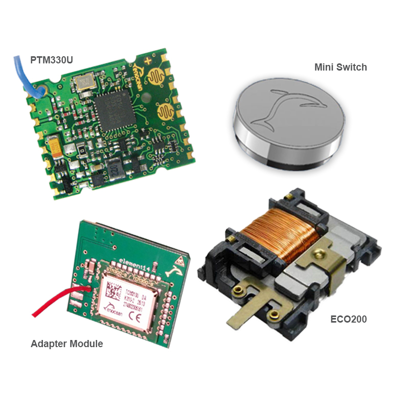 EnOcean Kinetic Design Kit with 1x PTM330U, 1x Mini switch, 1x ECO200, 1x Adapter module for UP GPIO