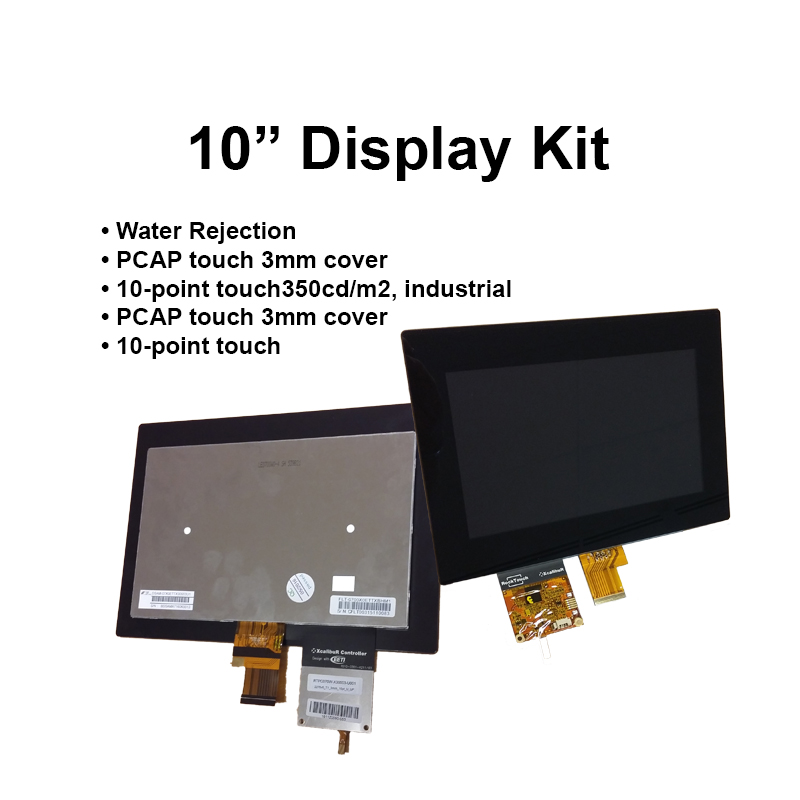 10,1-inch LCD (350cd/m2, industrial) PCAP (3mm cover, 10-point touch) + DSI to LVDS board