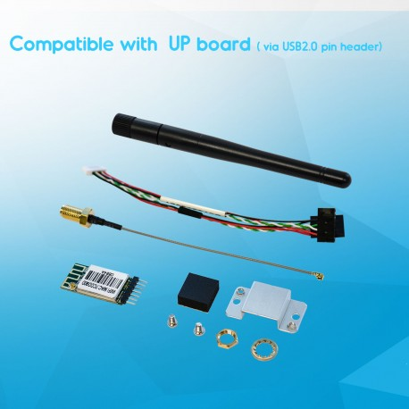 WiFi kit for UP (using USB2.0 pin header) with WiFi IEEE 802.11 b/g/n. 2.4GHz module, antenna + cable, USB pin-header cable