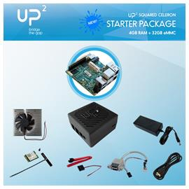 UP Squared N3350 4GB / 32GB + Power supply, USB pin header, cooler, ABS chassis, HDMI cable, WiFi+BT M.2 module, SATA cable