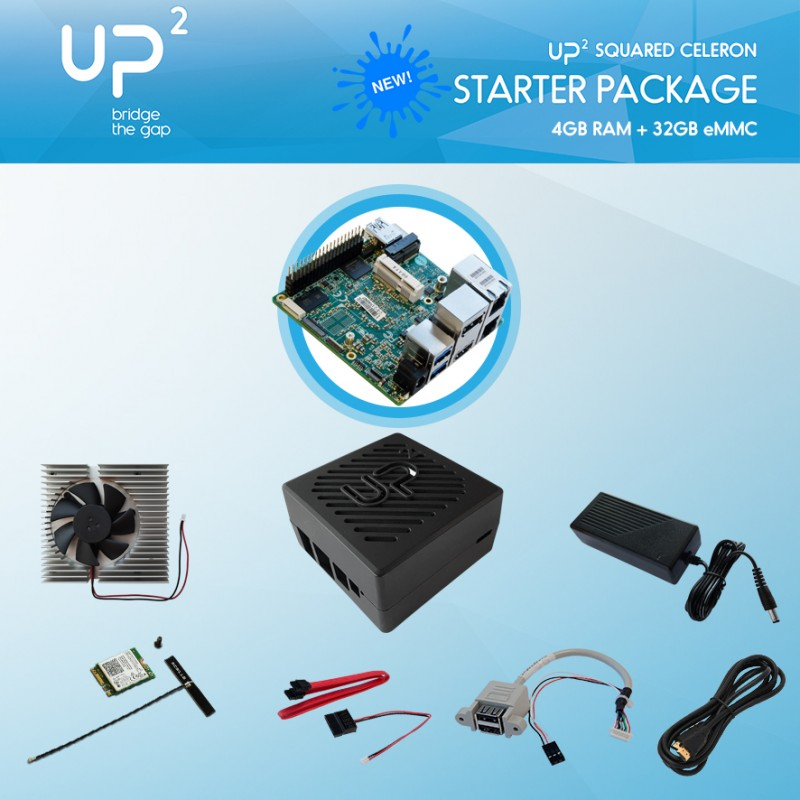 UP Squared N4200 8GB / 64GB + Power supply, USB pin header, cooler, ABS chassis, HDMI cable, WiFi+BT M.2 module, SATA cable