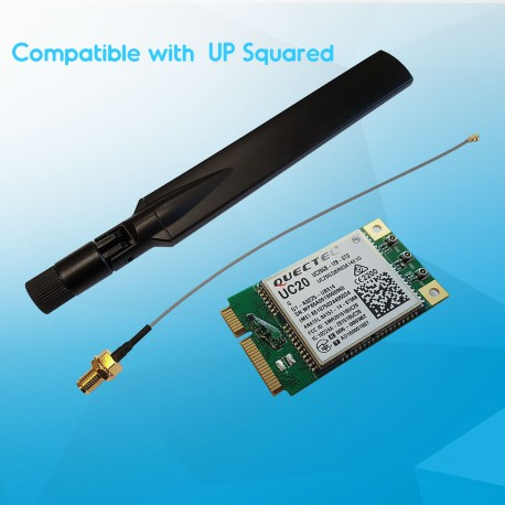 Mini PCIe 3G module kit for UP² with SIM card slot, RF Cable (15 cm), LTE Full band antenna