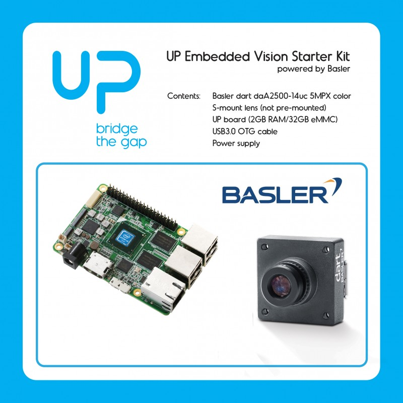 UP Embedded Vision Starter Kit with 5MP camera + S-Mount lens + UP board 2GB / 32GB + USB3.0 OTG cable + power supply