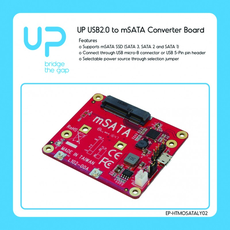 USB2.0 to mSATA converter board for UP board with mounting accessory, supports: SATA I/II/III & mSATA SSD