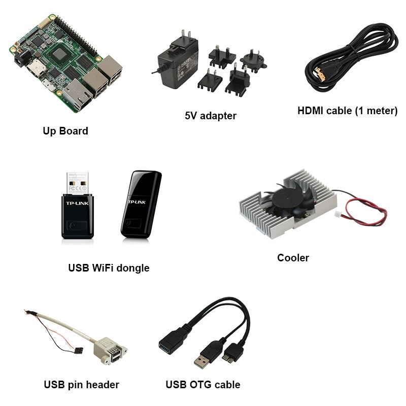 UP board x5-Z8350 2GB / 16GB + Power supply, USB pin header, USB OTG cable, active cooler, HDMI cable, plastic case
