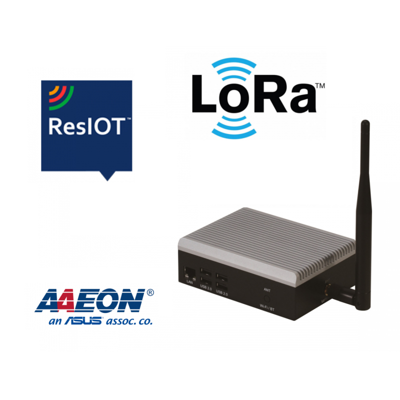 On-premises private LoRa gateway with UP board 2/32 GB, bundled with ResIOT Network Server
