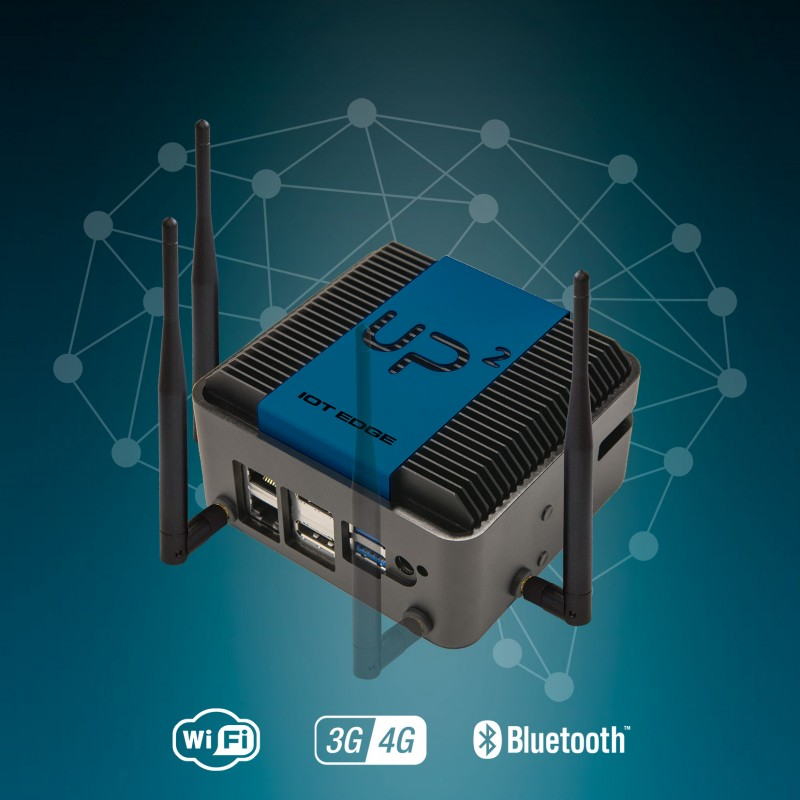 UP Squared IoT Edge System powered by Intel x7-E3950 SoC, 8GB RAM, 64GB eMMC, WiFi+LTE+EMEA
