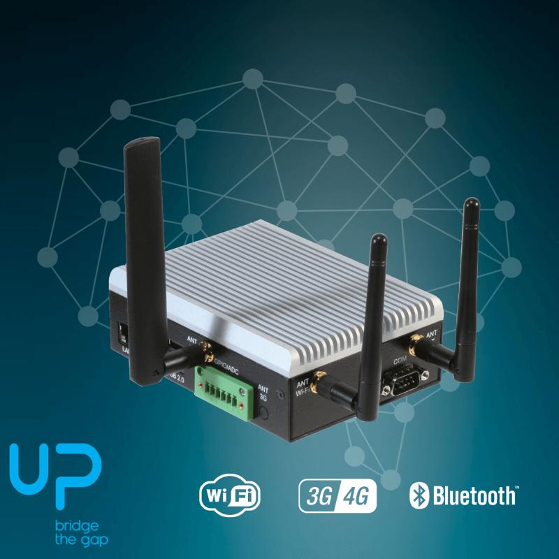 UP board x5-Z8350 with 2GB RAM & 32GB eMMC, 2x RS-232/485, Digital +  Analog I/Os, Bluetooth+WiFi+4G (EMEA)